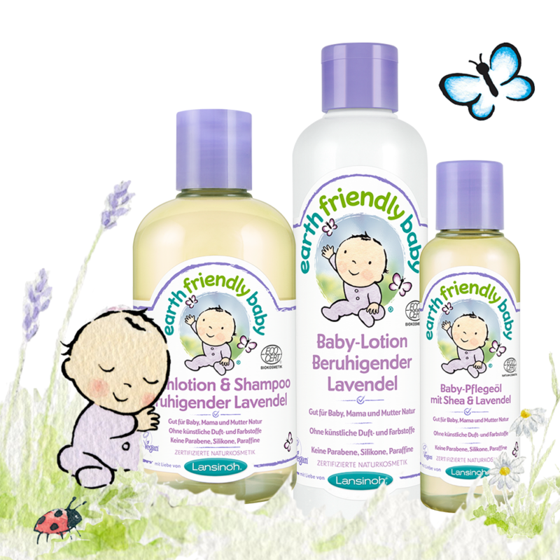 "Lansinoh Earth Friendly Baby® Waschlotion & Shampoo ""Beruhigender Lavendel"" Earth Friendly Baby® Baby-Lotion ""Beruhigender Lavendel"" Earth Friendly Baby® Baby-Pflegeöl ""Beruhigender Lavendel"" mit Shea & Lavendel"